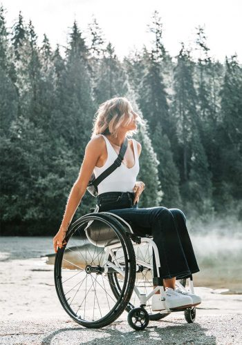 An empowered looking woman in a wheel chair